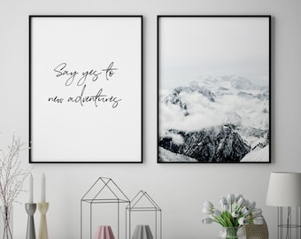 Modern Wall Art Set, Printable Set Of 2, Mountains Wall Art Mountains, Modern  Wall Decor, Modern Home Decor Prints, Set Of 2 Prints