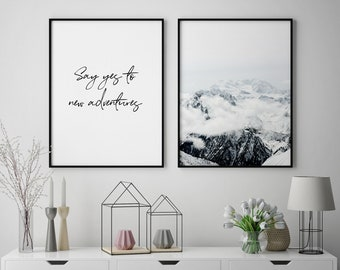 Mountain Wall Art Modern Set Decor Home Prints Of 2 Quote