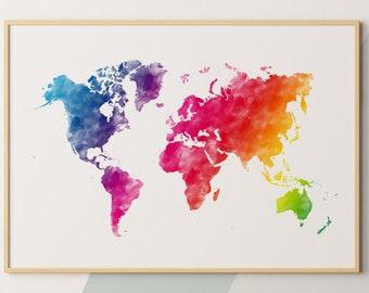 World Map Wall Art Colorful Map Photo Print