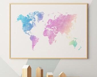 World map wall art etsy pastel world map print pastel watercolor world map pastel world map wall art pastel world map wall print world map pastel print gumiabroncs Gallery