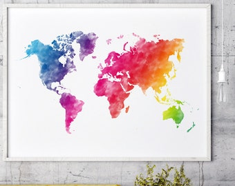 Colorful world map | Etsy