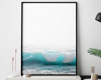 Blue Ocean Print, Beach Decor, Beach Wall Art, Beach Art, Ocean Art, Beach Photography, Ocean Wall Art, Ocean Decor, Waves Print, Waves Art