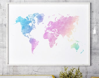 World map print etsy pastel world map print pastel watercolor world map pastel world map wall art pastel world map wall print world map pastel print gumiabroncs Choice Image