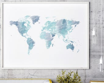 Watercolor world map etsy watercolor world map print blue world map wall art world map poster world map art map of the world world map decor gumiabroncs Gallery