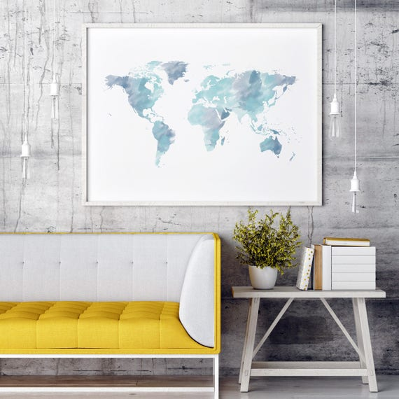 Watercolor world map print blue world map wall art world map etsy image 0 gumiabroncs Images