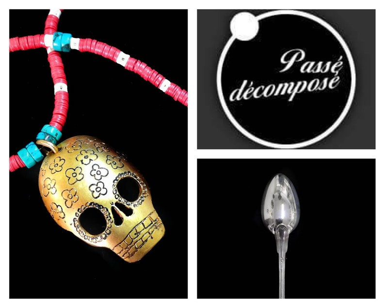 SKULL necklace-vintage spoon-engraved flowers-gilded-flowers pattern
