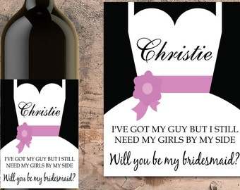 Personalized Wedding Favor, Bridesmaid Gift For Wedding Invitation, Will You Be My Bridesmaid, Wedding Gift, Bridesmaid Proposal, Wine Label