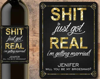 Will You Be My Bridesmaid Wine Bottle Label, Bridesmaid Wine Bottle Label, Wedding Party Favor, Wedding Party Gift, Bridesmaid Gift