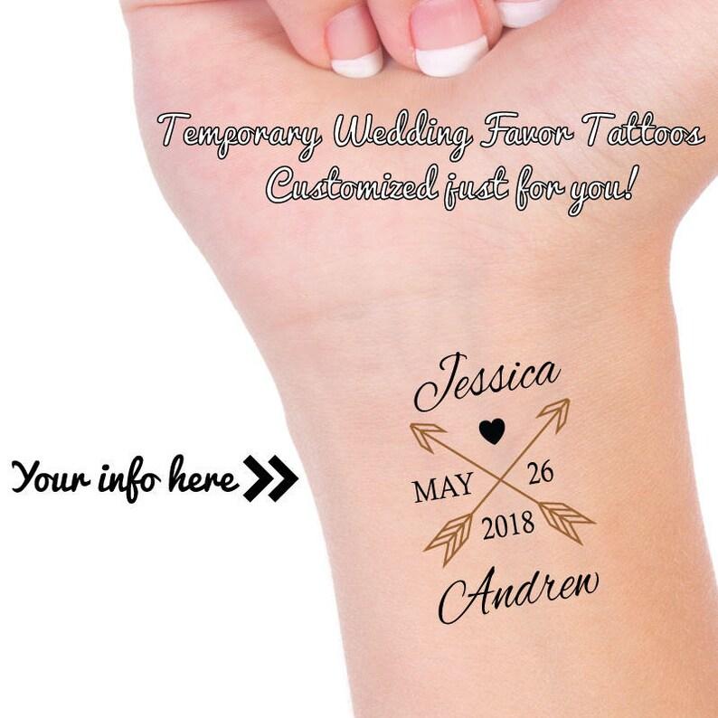 Niestandardowe Wesele Za Tatuaże Arrow Tattoo Tymczasowy Tatuaż ślubny Osobisty ślub Korzyść Tatuaż Panna Młoda I Pan Młody Tatuaż
