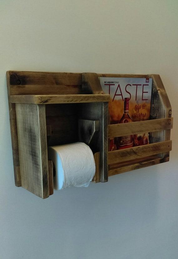 Rustic Distressed Aged Toilet Roll Holder Magazine Rack Shelf Combo Bathroom Shelf Barn Board Toilet Paper Holder Bathroom Shelf