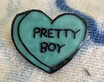 Pretty Boy Candy Heart Pin