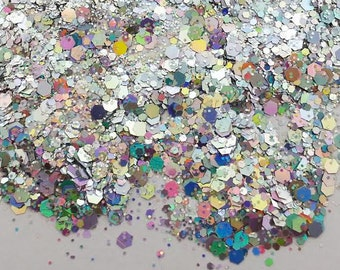 Multi Size Prismatic Silver Holographic Glitter Mix - Solvent Resistant