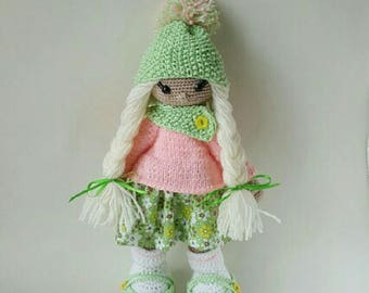 Doll Crochet Amigurumi Toy Soft Doll Girls Birthday gift Handmade Doll with blonde hair and a green hat