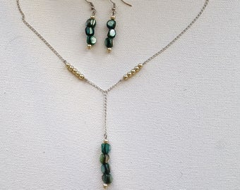 Mermaid Seashell Pearl Y Necklace and Earring Set