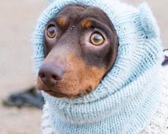 Dog snood hat. Dog neck warmer.Dachshund clothes . Dog clothes .pet clothes. Dog gift. Pet gifts. Mouse ears dog hat. Pompom ears snood.