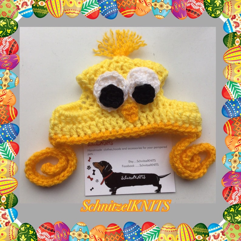 Cute Easter chick puppy hat .Great for fancy dress Mini dachshund Yorkshire terrier Fits small dog Cute Easter chick dog hat  bonnet
