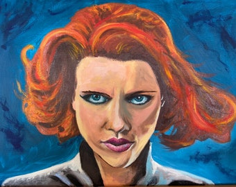 Scarlett Johansson as Black Widow, oil painting