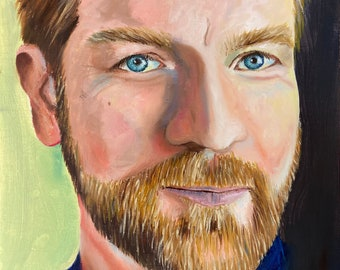 Portrait of Ewan McGregor, oil painting