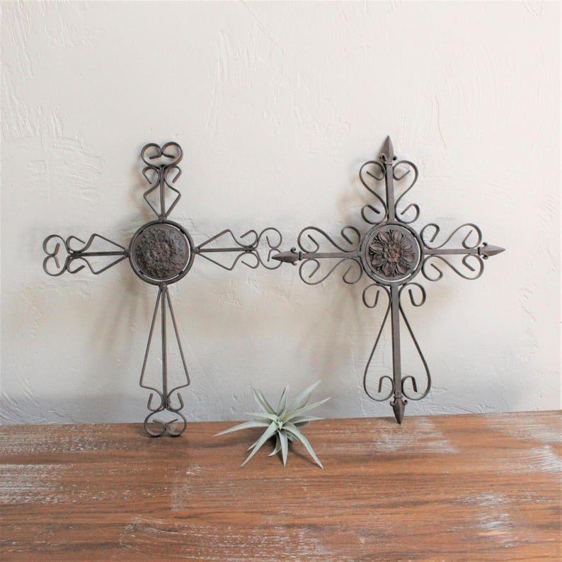 Vintage Wrought Iron Cross Religious Decor Wall Cross Scroll Etsy