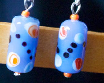 Blue and Orange Spot Earrings