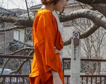 Red hexagon kimono coat