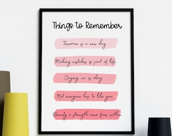 Printable wall decor print | things to remember | Positive home decor quote | Positivity | card | house decor | Gift | Pink | Mental health