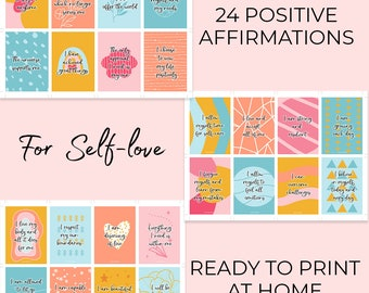 Positive affirmation cards for self-love | Easy to print at home quote cards | Positive reminders | Daily affirmation cards