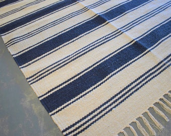 Blue Striped Rug Etsy