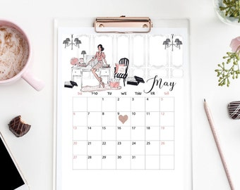 May 2018 Calendar Printable Month Planner Girl Office Save The Date Pregnancy Baby Announcement Wall Art Office Sign Digital Download