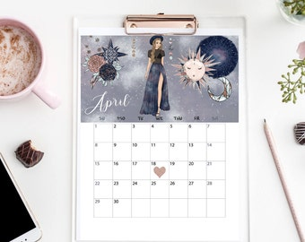 April 2018 Calendar Printable Month Cellestial Stars Moon Save The Date Pregnancy Baby Announcement Wall Art Office Sign Digital Download
