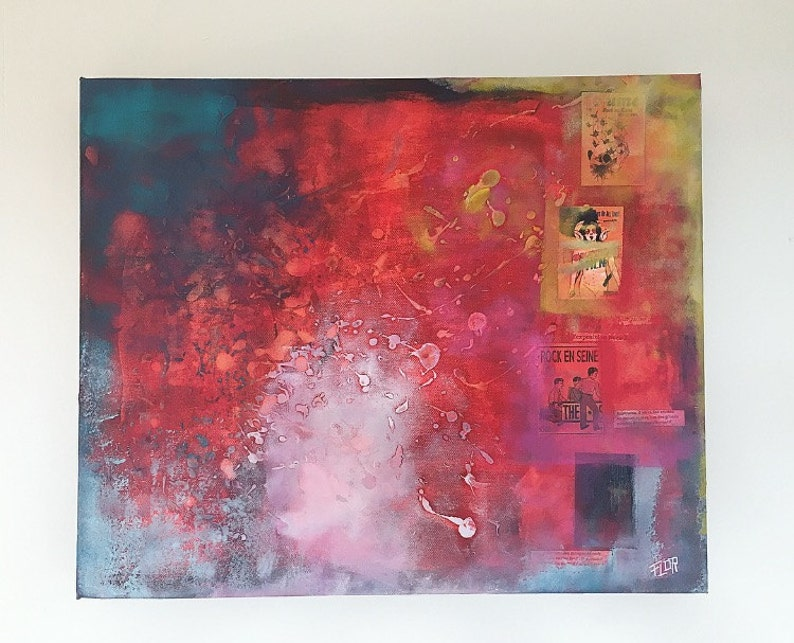 Jain Peinture Abstraite Art Abstrait Moderne Rouge Bleu Etsy