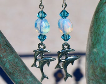 Dolphin Blue and Opal Glass Bead Earrings