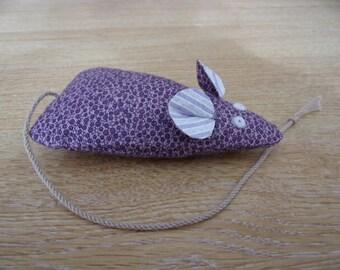 Catnip Mouse/ Mice Cat Toy Handmade Purple Print