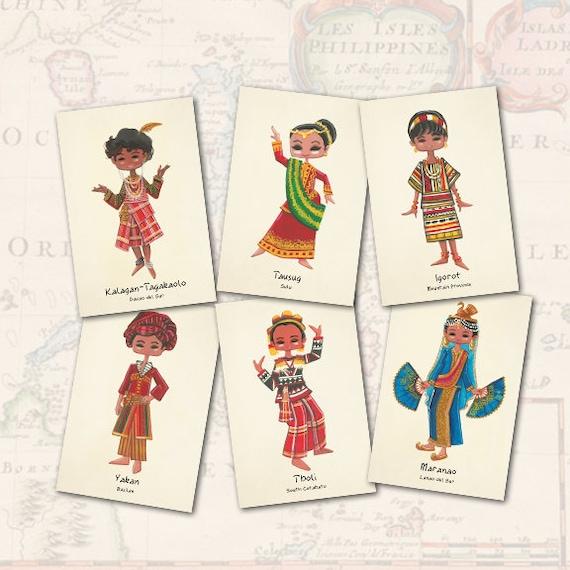 Philippine Ethnic Costumes Set of 6 - Tribal Filipino Maranao Kalinga  Igorot T'boli Yakan Tausug Clothing Traditional Postcard Print Art