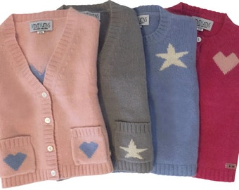 Cashmere Cardigan Stars & Hearts, eco-friendly, toddler gift, kids gift, vogue featured