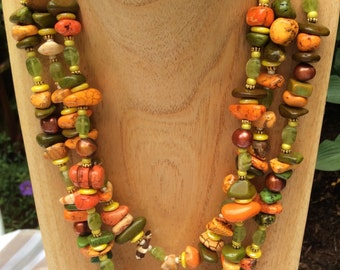 Autumn Gemstone, Glass and Pearl Torsade Necklace
