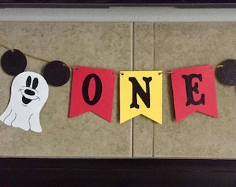 Ghost Halloween Mickey Mouse Banner