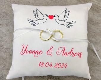 original decor nest Wedding cushion green and white country theme custom couple of doves Saperlipopette creation