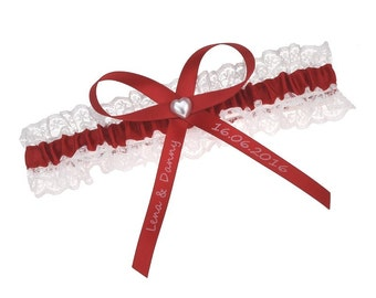 White lace garter with red satin and customised bow