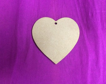 60mm MDF Hearts X5