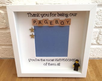 Pageboy gift, pageboy, pageboy thank you gift, pageboy keepsake, gift for pageboy, ring bearer gift, gift for ring bearer, brick man frame
