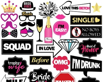 Bachelorette Party Photo Booth Props - 36 Pieces - Bachelorette Party Supplies, Gifts, Decorations and Favors