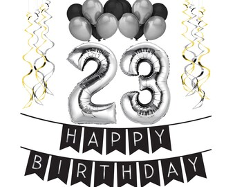 23rd Birthday Party Pack Black Silver Happy Bunting Balloon And Swirls Decorations