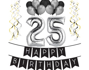 25th Birthday Party Pack Black Silver Happy Bunting Balloon And Swirls Decorations
