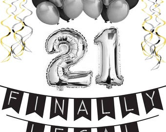 21st Birthday Party Pack Black Silver Happy Bunting Poms And Swirls Decorations