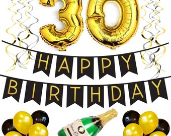 30th Birthday Party Pack Black Gold Happy Bunting Poms And Swirls Decorations Supplies