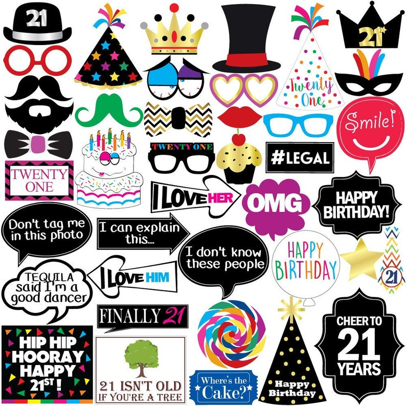 21st Birthday Photo Booth Party Props 40 Pieces Funny