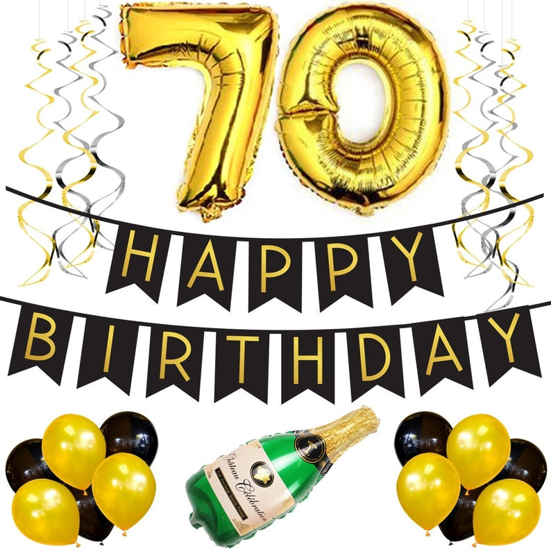 70th Birthday Party Pack Black Gold Happy