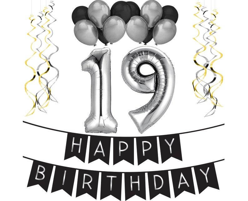 19th Birthday Party Pack Black Silver Happy Birthday