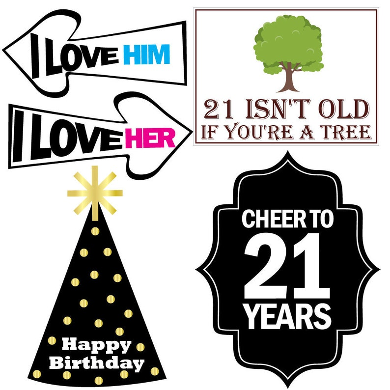 21st Birthday Photo Booth Party Props Funny 21st Birthday Party Supplies 40 Pieces Decorations and Favors
